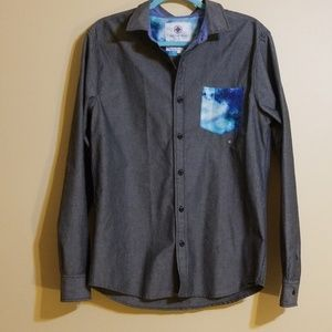 ON THE BYAS Gray/Black Button Down Shirt
